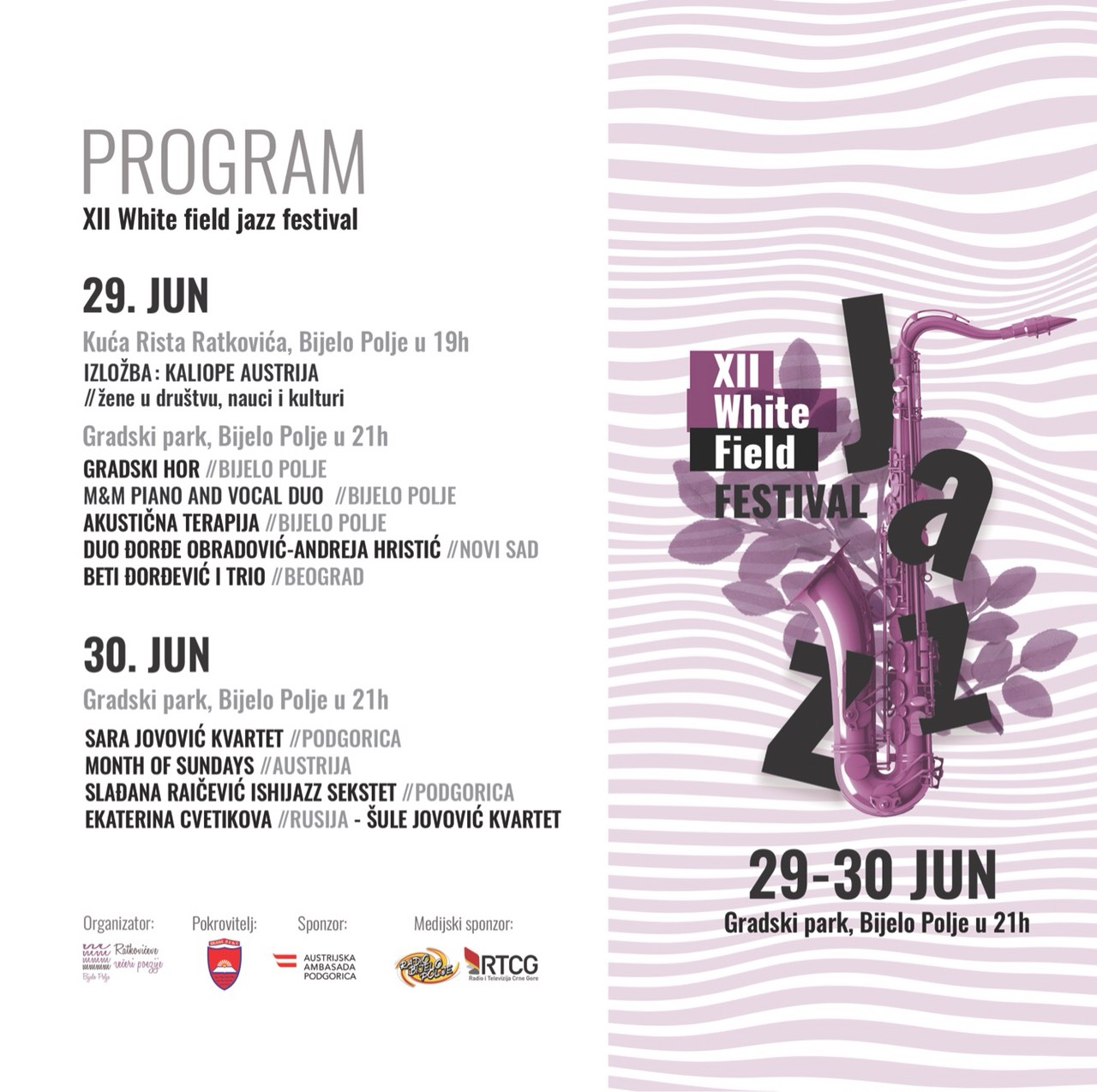 U Bijelom Polju počinje 12. Whitefield jazz festival